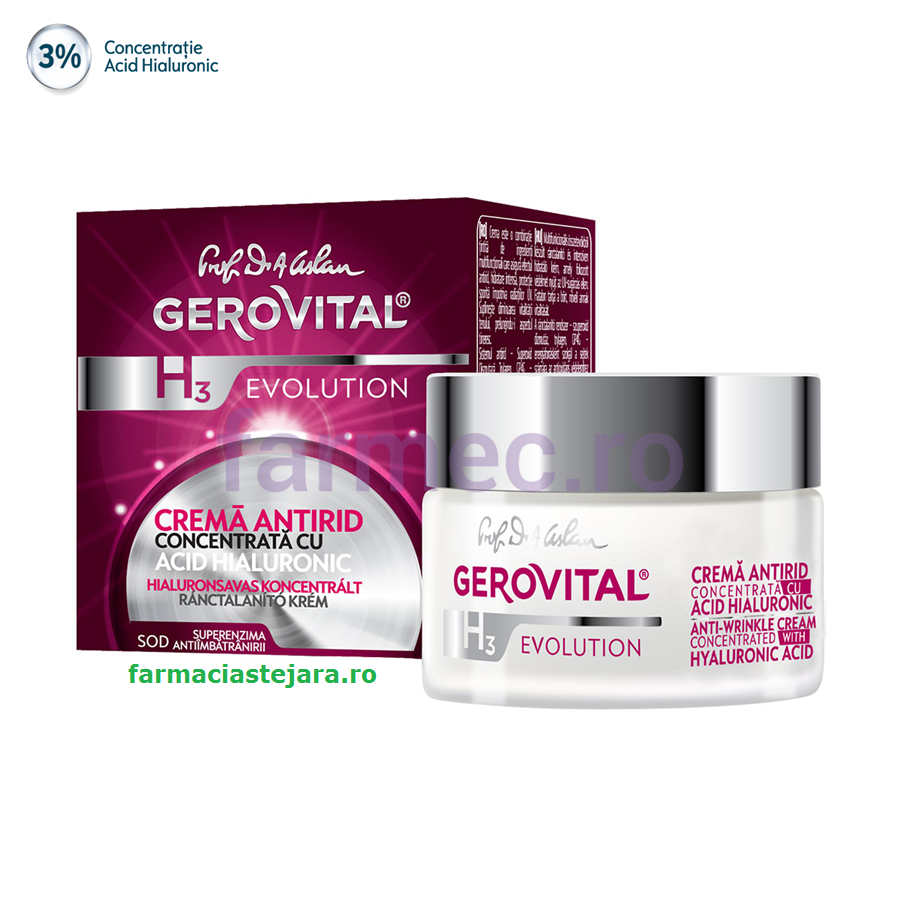 Gerovital H3 Evolution Cremă antirid cu Acid Hialuronic 3%