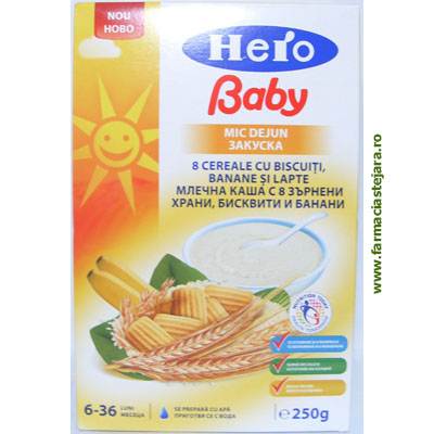 Hero Baby Mic dejun 8 cereale cu biscuiti,banane si lapte
