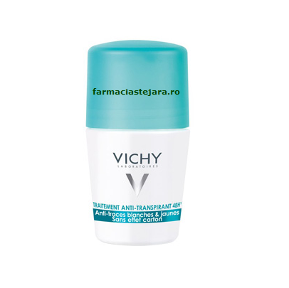 Vichy Deodorant Roll-on anti urme albe si galbene 48h