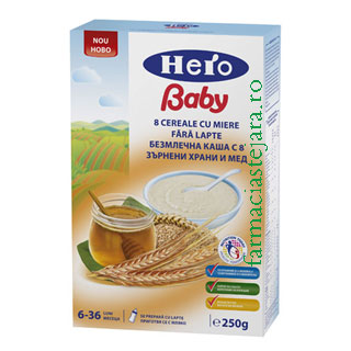 Hero baby 8 Cereale cu miere fara lapte 6-36 luni