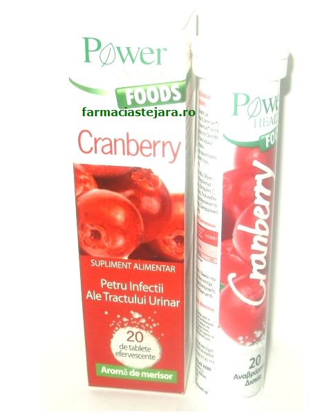 Cranberry(merisor) Power of nature Foodsx 20 tablete efervescent
